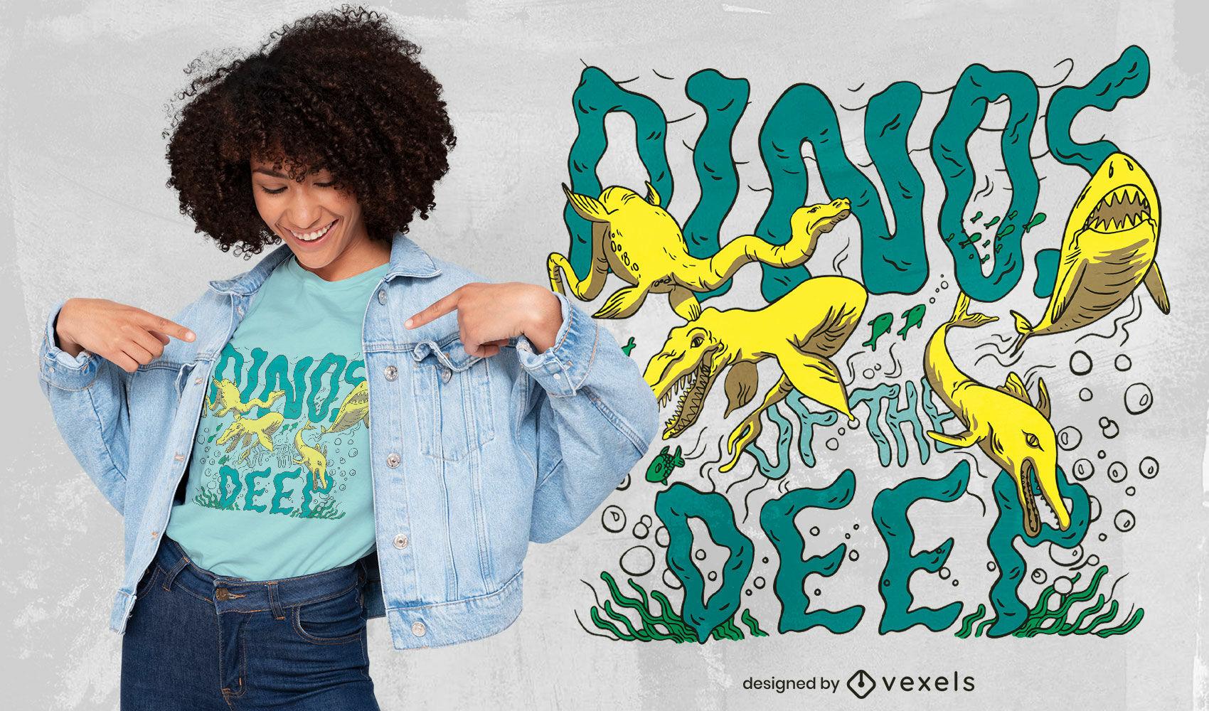 Diseño de camiseta de dinosaurios nadando en el océano.