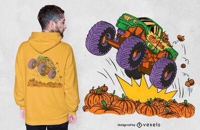 Diseño de camiseta de monster truck pumpkin field