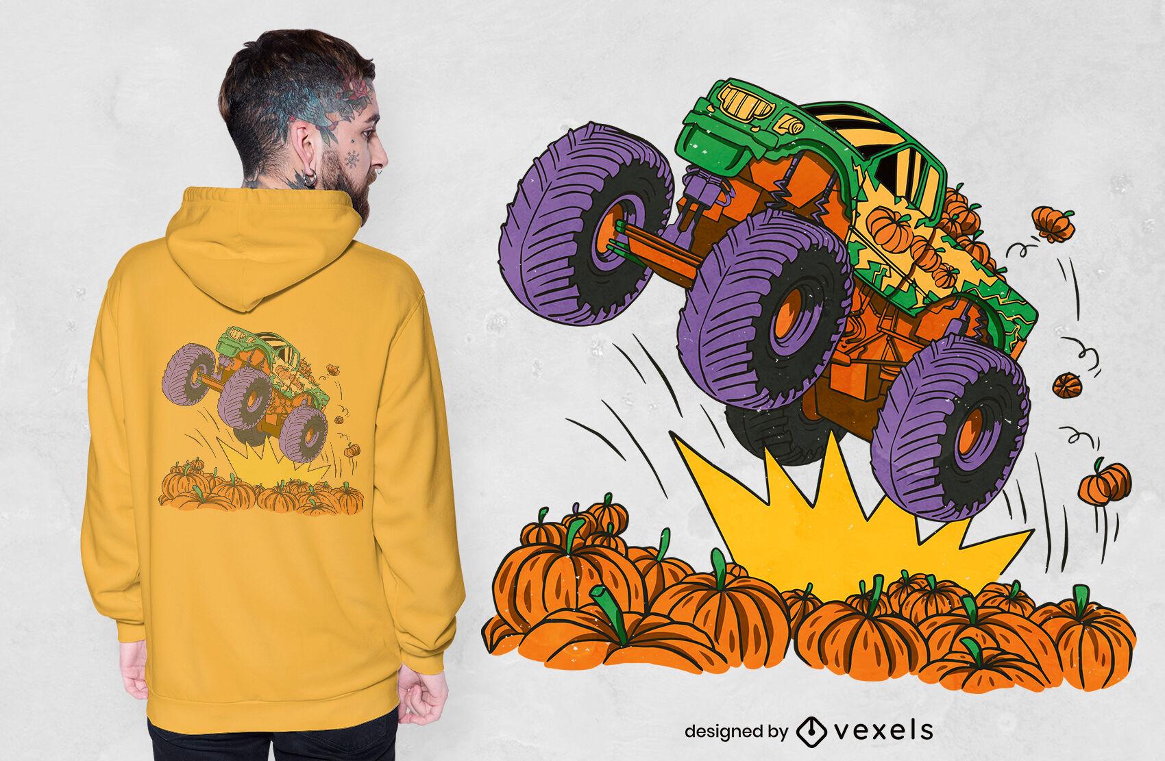 Monster truck pumpkin field t-shirt design