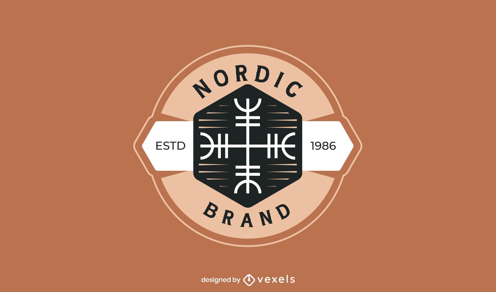 Modelo de logotipo plano de runas nórdicas