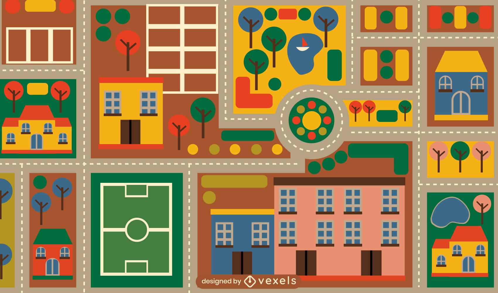 Mapa colorido de la alfombra del juguete de la ciudad de los niños