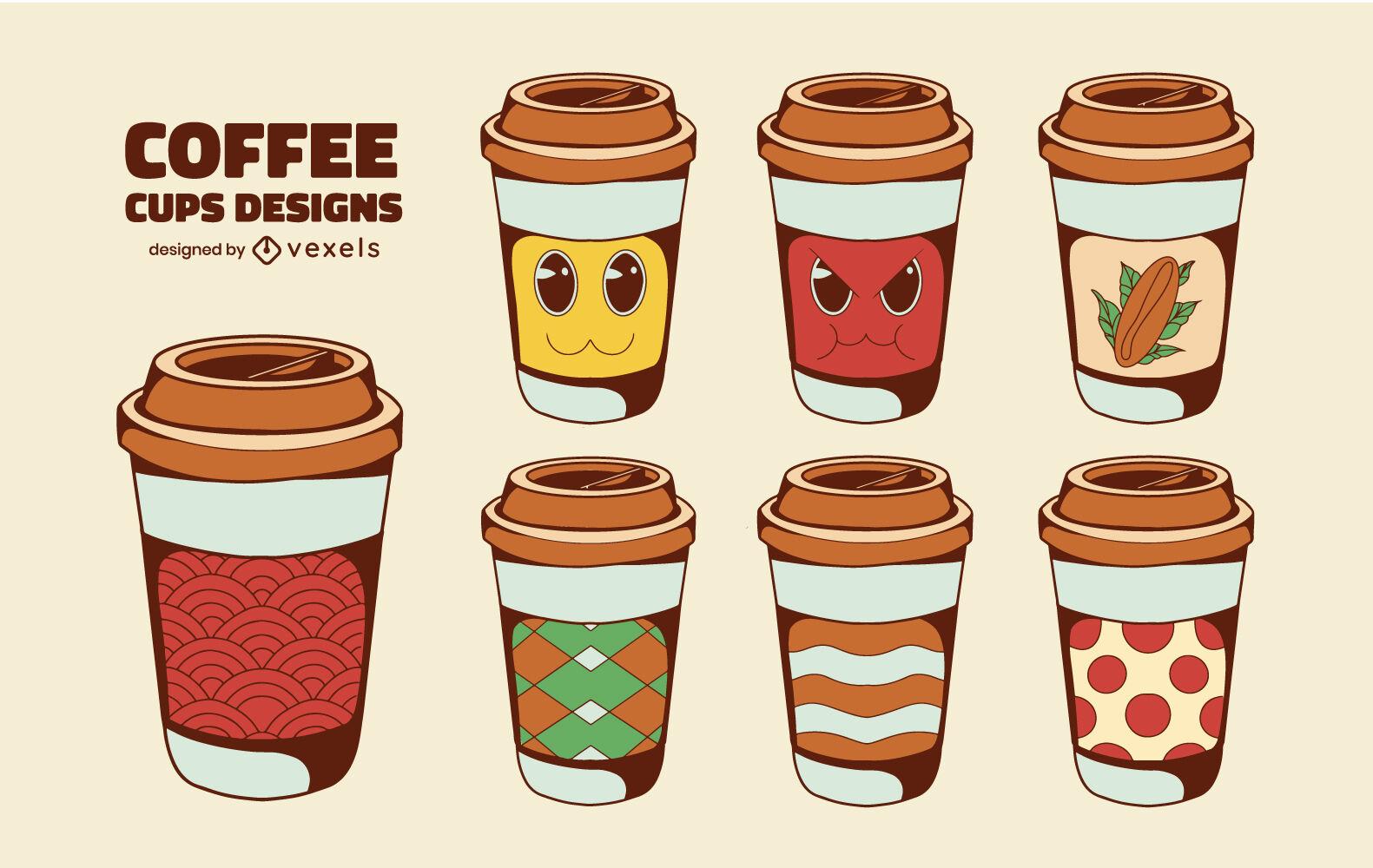 Conjunto de bebidas com designs de xícaras de café descartáveis