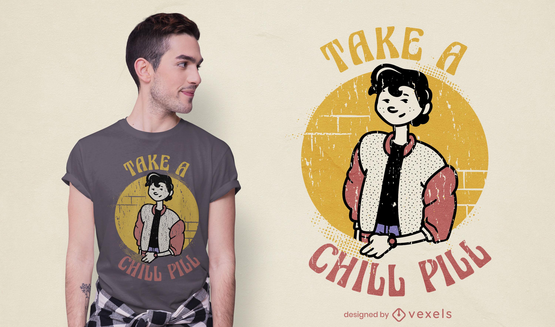 Diseño de camiseta de personaje retro chill pill