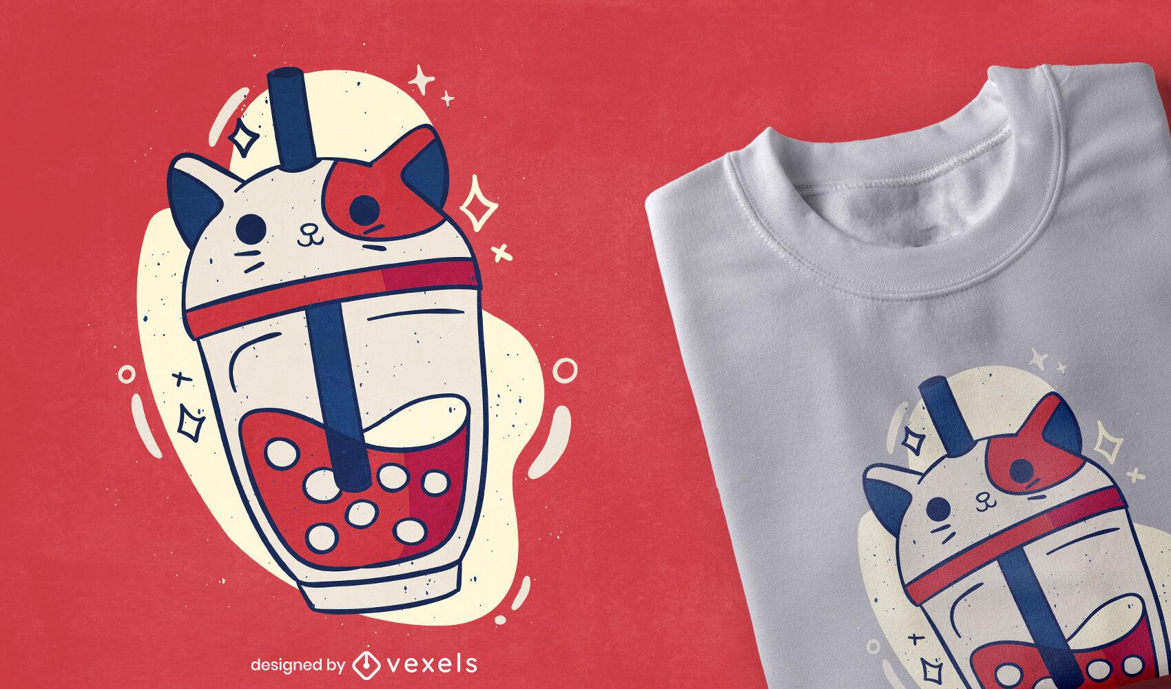 Dise?o de camiseta de gato lindo con gorra de t? de burbujas