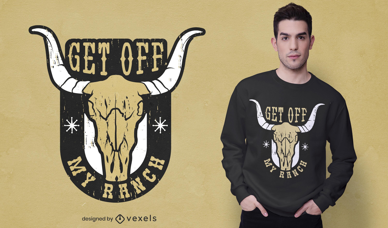 Bájate de mi diseño de camiseta de calavera de vaca ranchera
