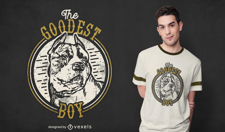 Diseño de camiseta de pitbull de chico más bueno