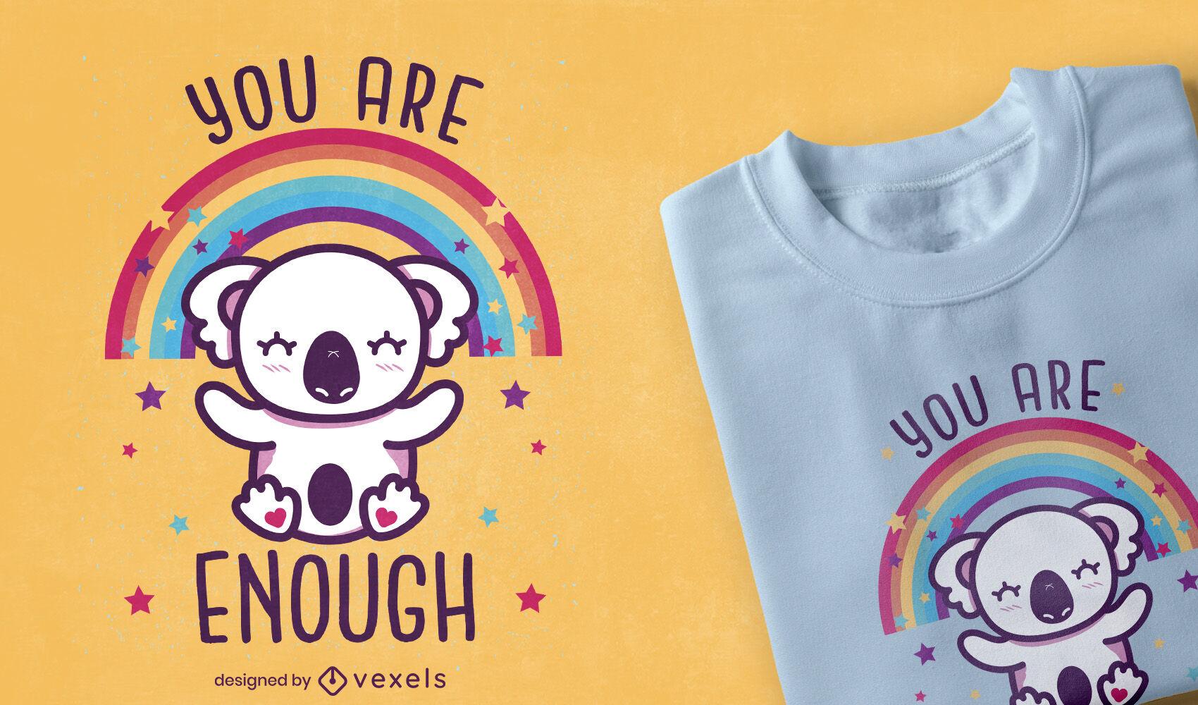 Diseño de camiseta de koala lindo motivacional