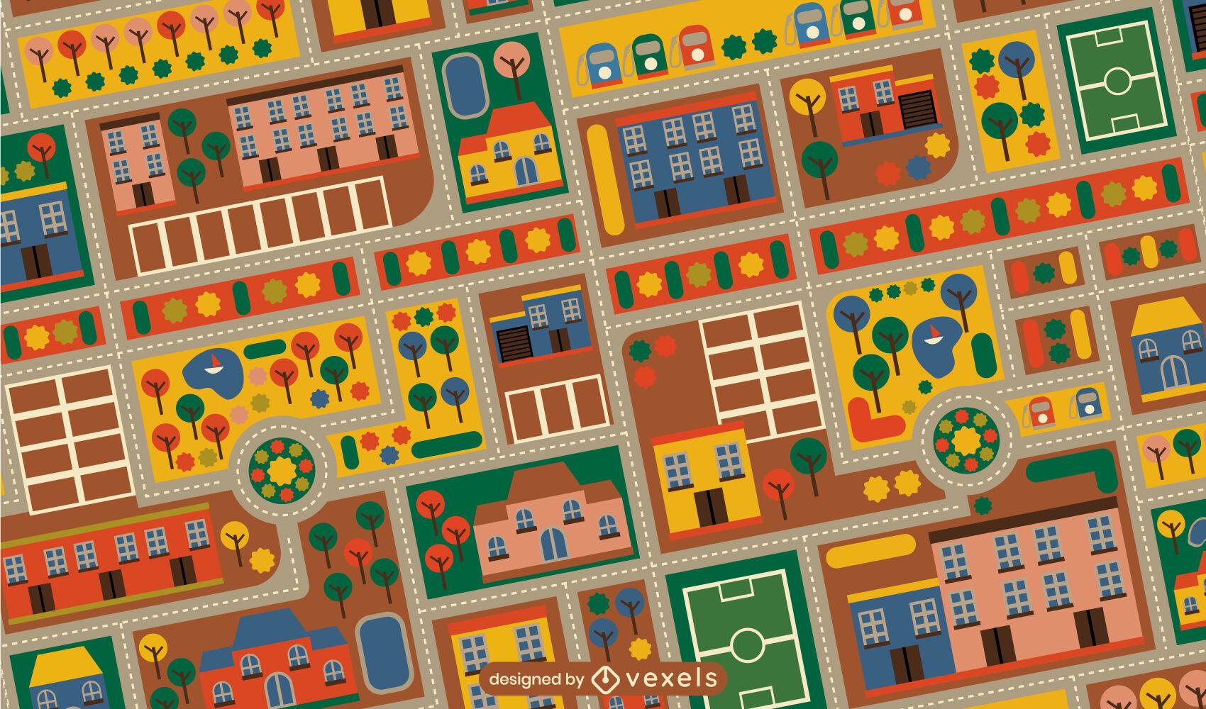 Colorful childrens city carpet pattern design