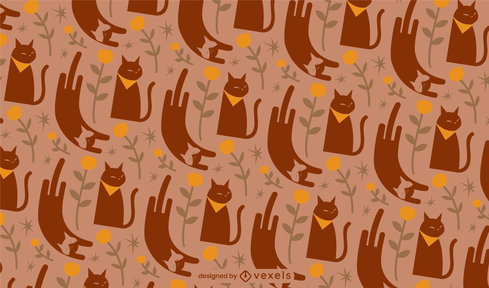 Gatos marrón y patrón plano.
