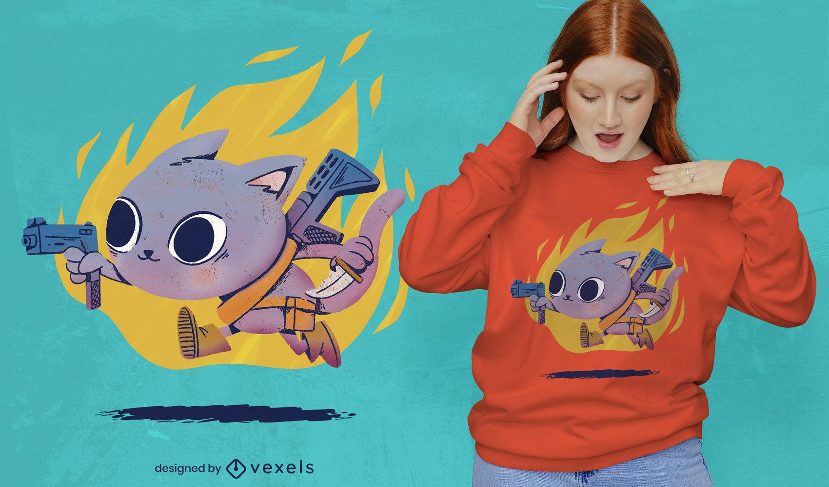 Diseño de camiseta de gato y pistolas psd