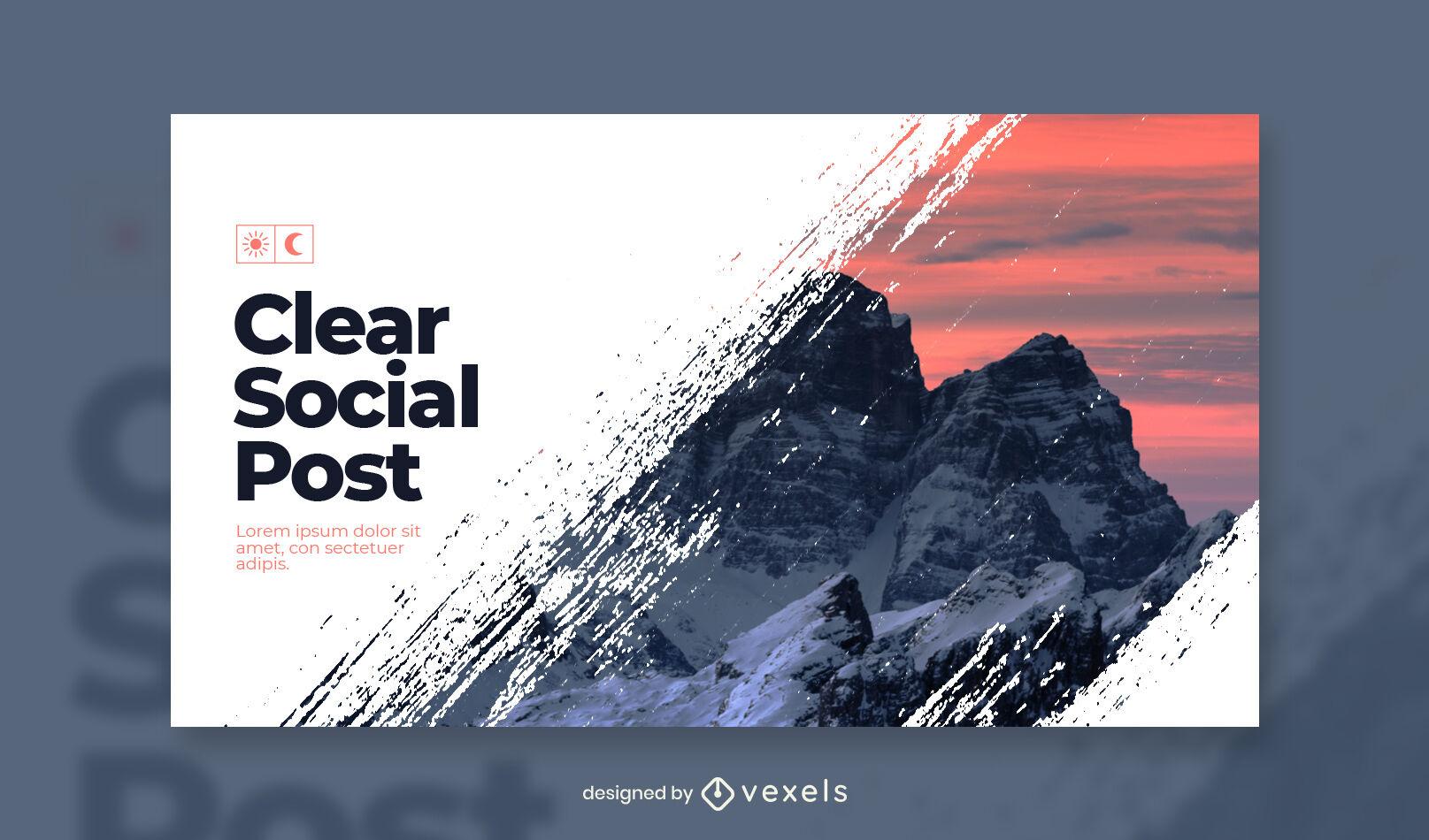 Plantilla de portada de facebook de montaña nevada