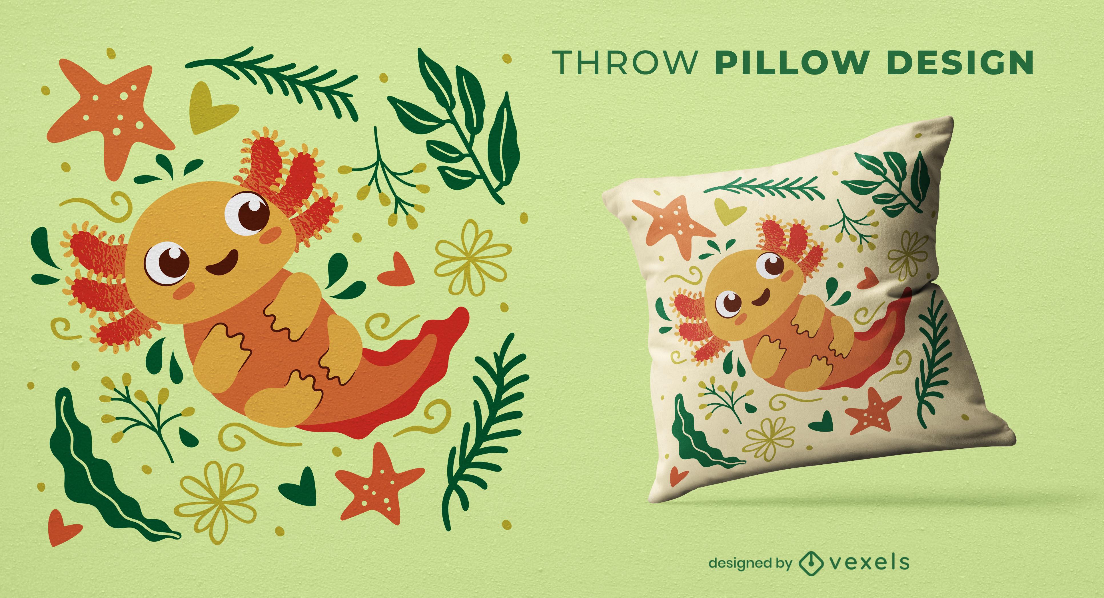 Cute baby axolotl throw pillow design