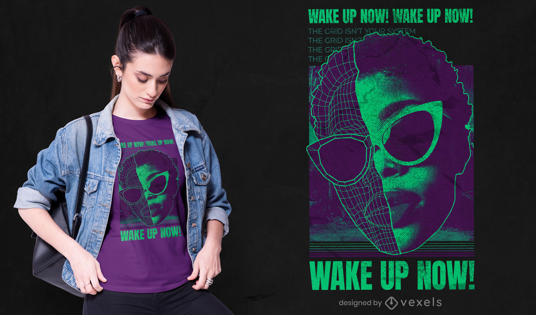 Wake up wireframe psd t-shirt design
