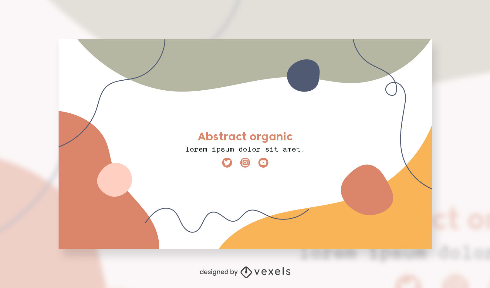 Organic abstract shapes facebook cover template