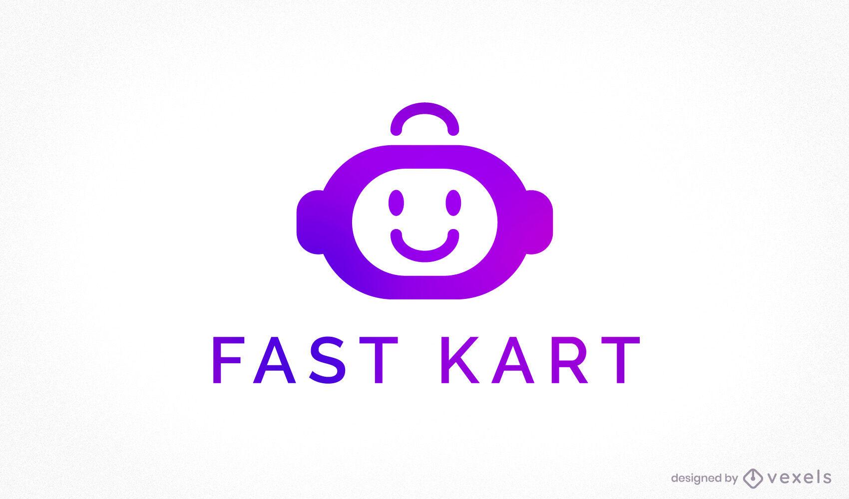 Modelo de logotipo gradiente de robô de comércio eletrônico