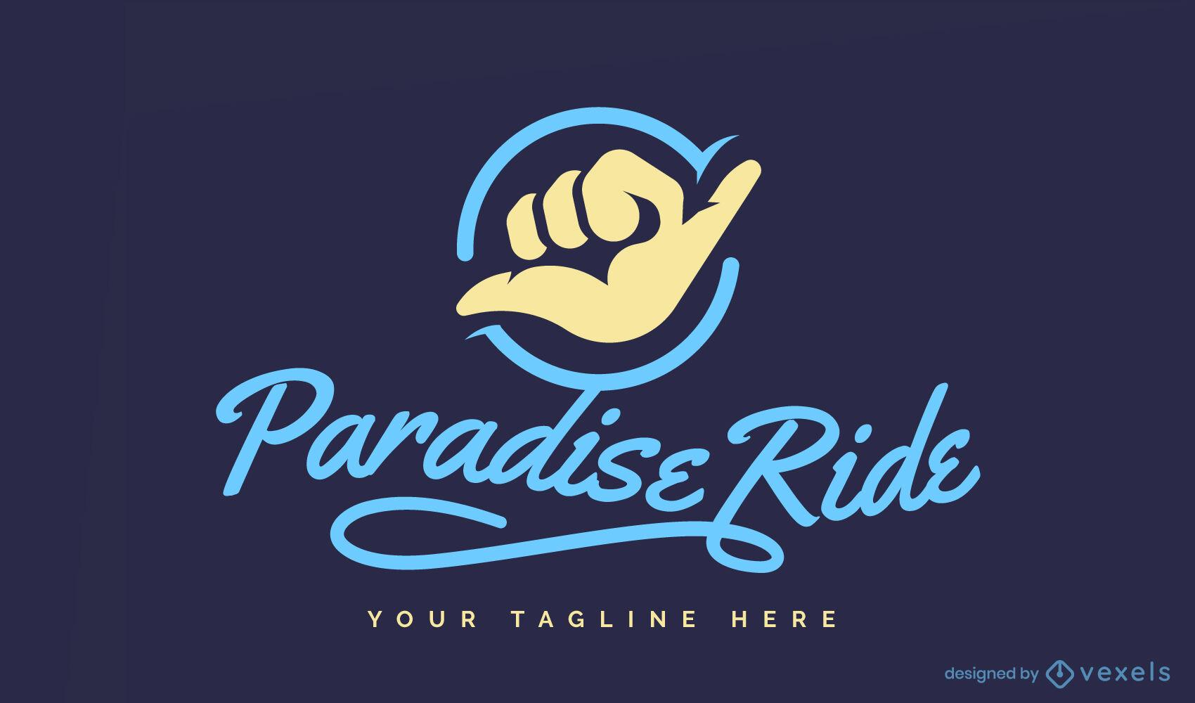 Plantilla de logotipo de signo de mano de surf