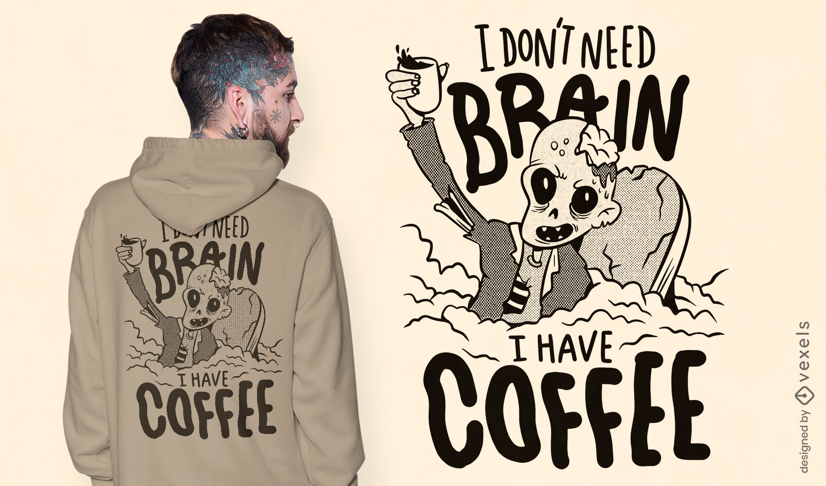 Brainless zombie on coffee t-shirt design