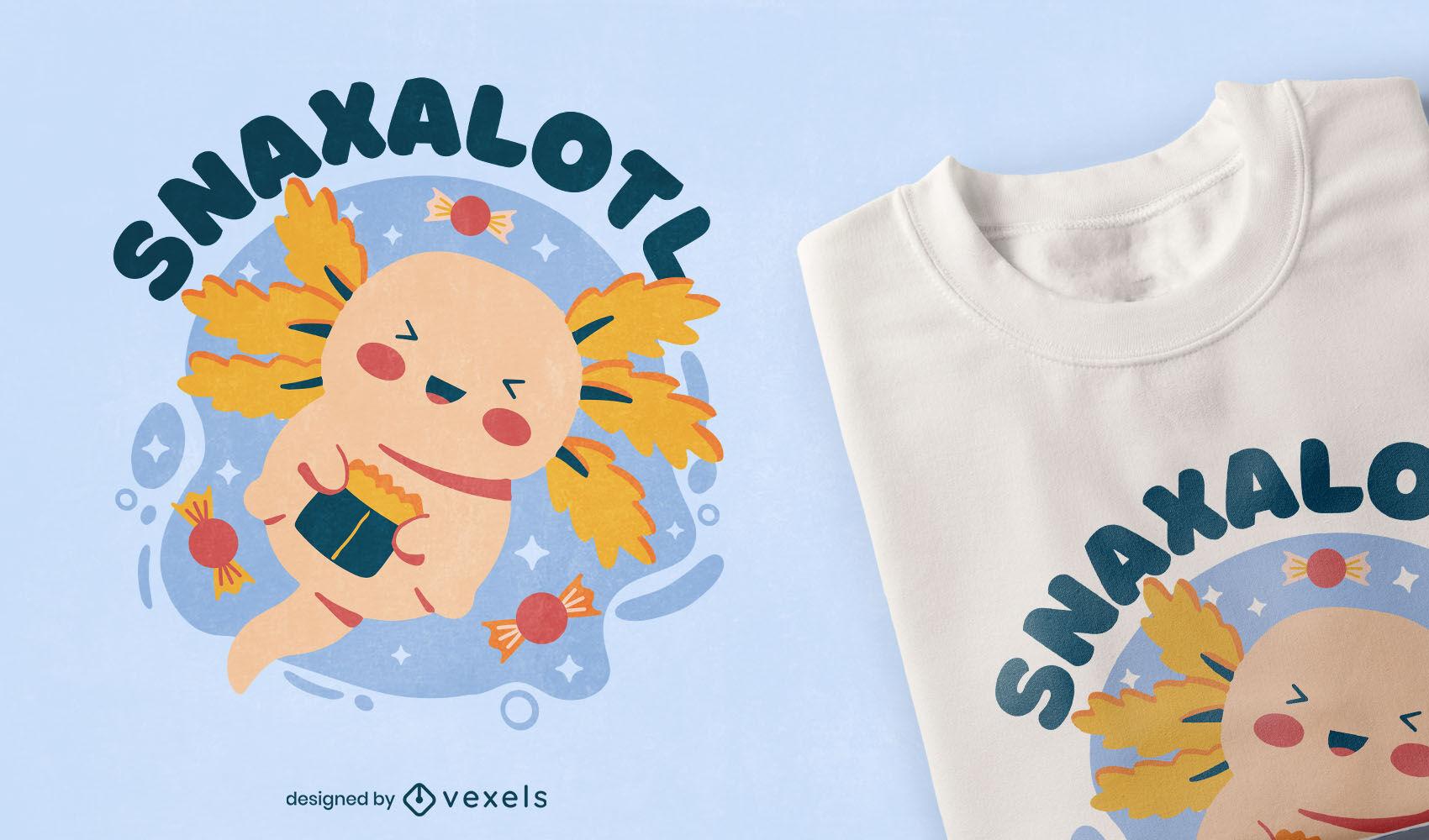 Comendo um lindo design de camiseta axolotl