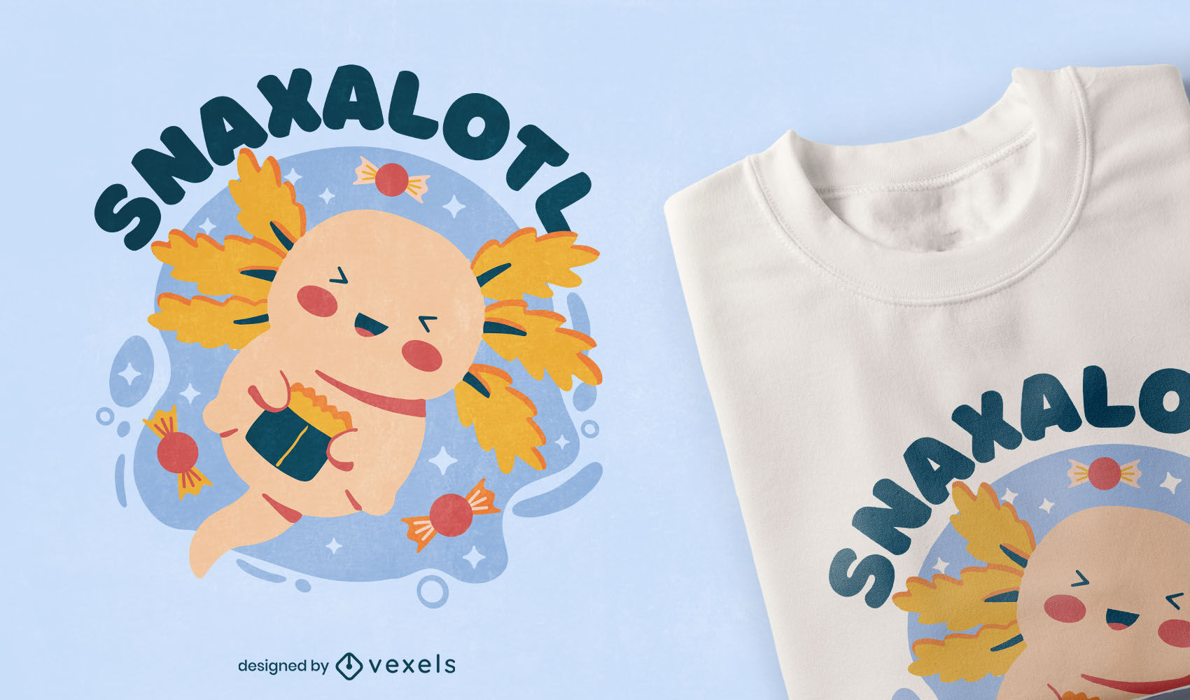 Eating cute axolotl t-shirt design
