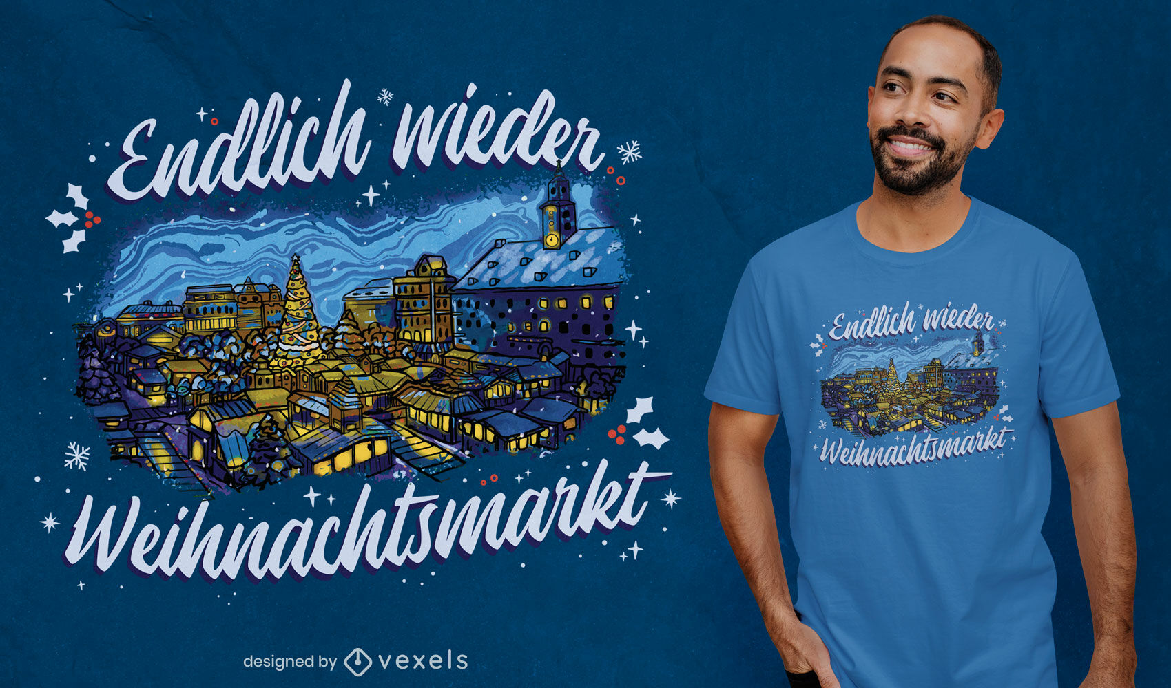 Dise?o de camiseta de la ciudad de la noche de navidad alemana.