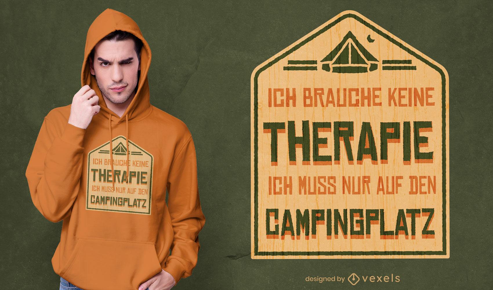 Diseño de camiseta de signo alemán de terapia de campamento.