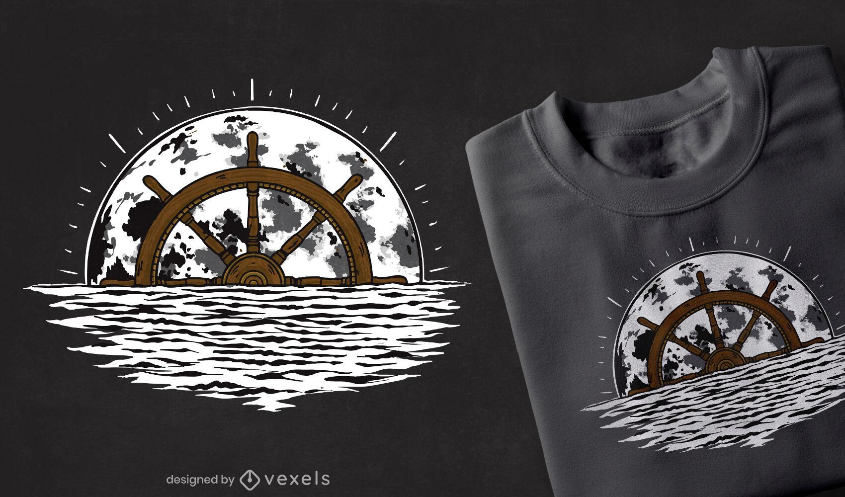 Mondschiff-Lenkrad-T-Shirt-Design