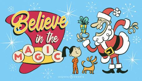 Ilustración retro de navidad de santa claus