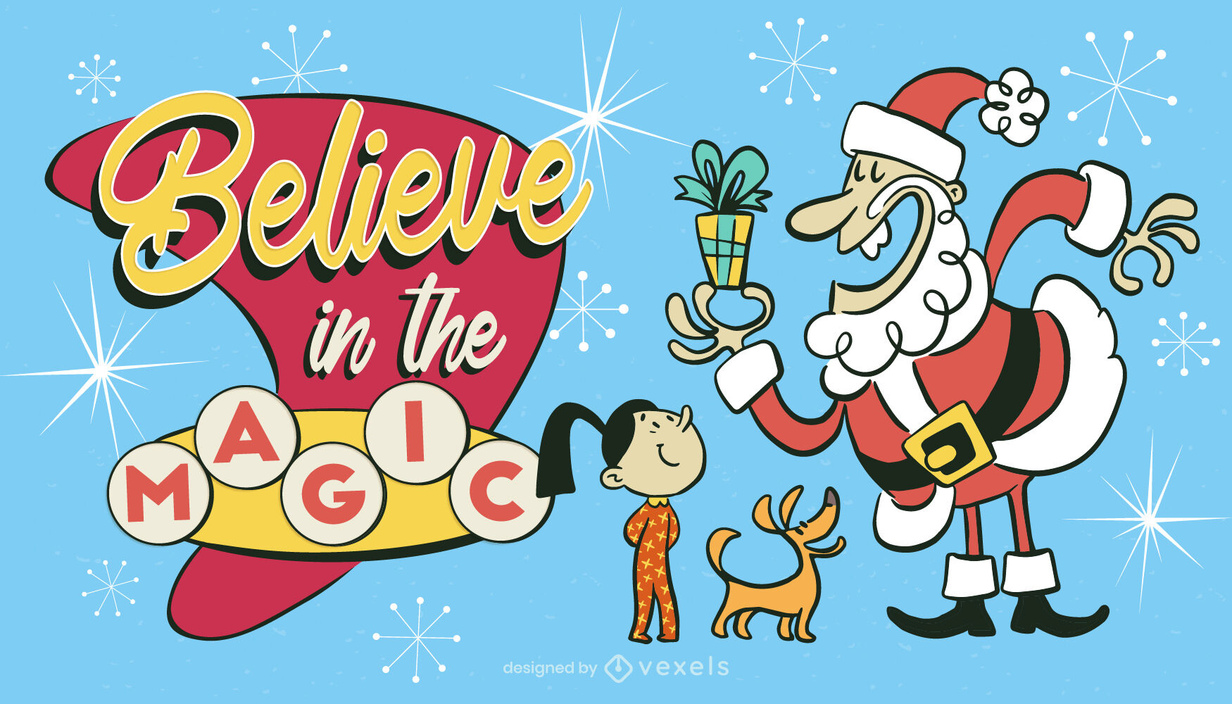 Santa claus retro christmas illustration