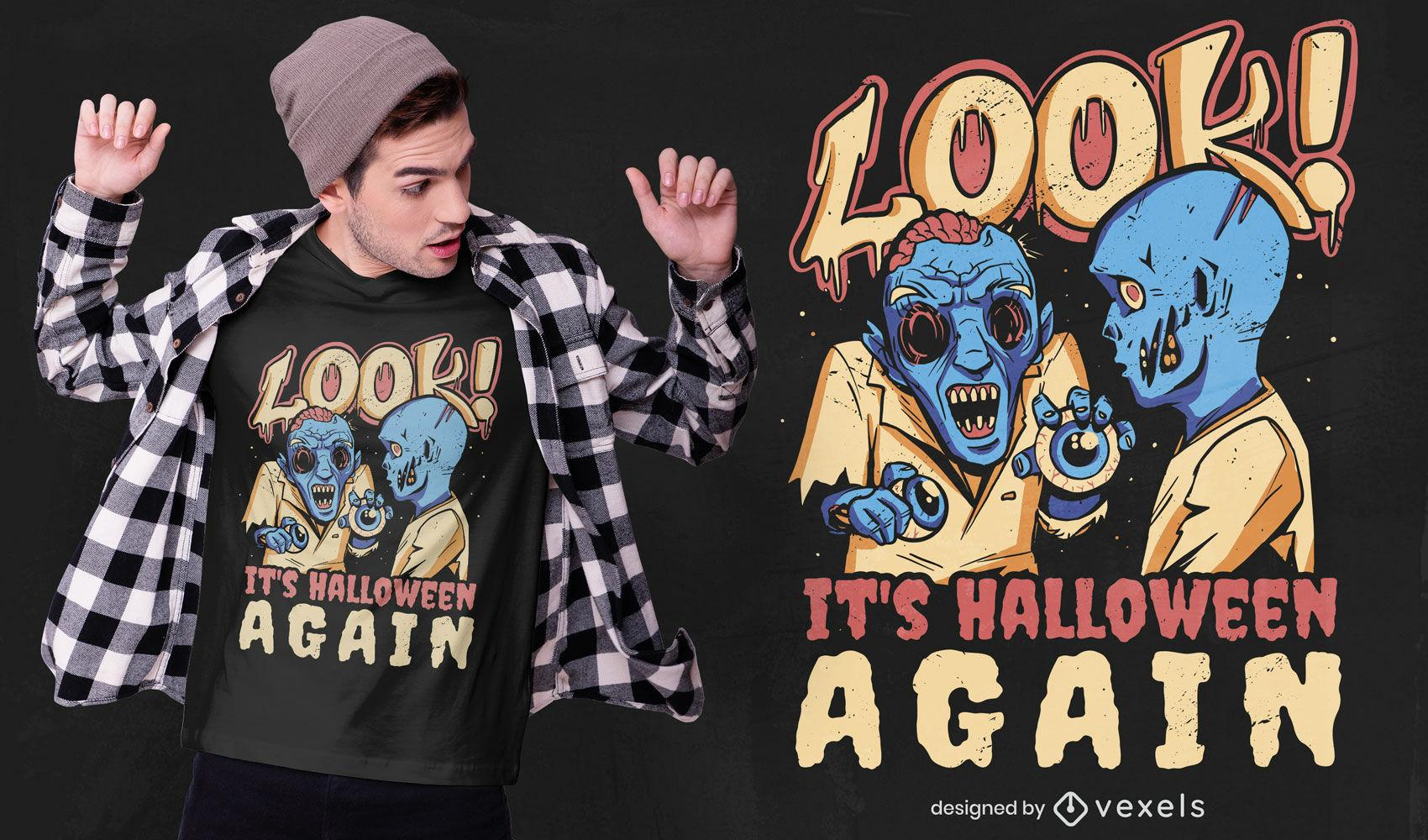 Diseño de camiseta de halloween de nuevo zombies.