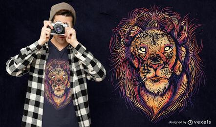Colorful lion face psd t-shirt design