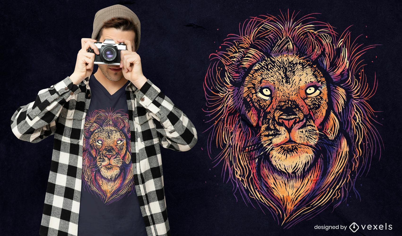 Design colorido de t-shirt psd com cara de leão