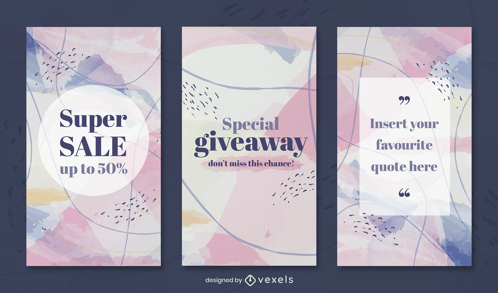 Watercolor abstract instagram story template