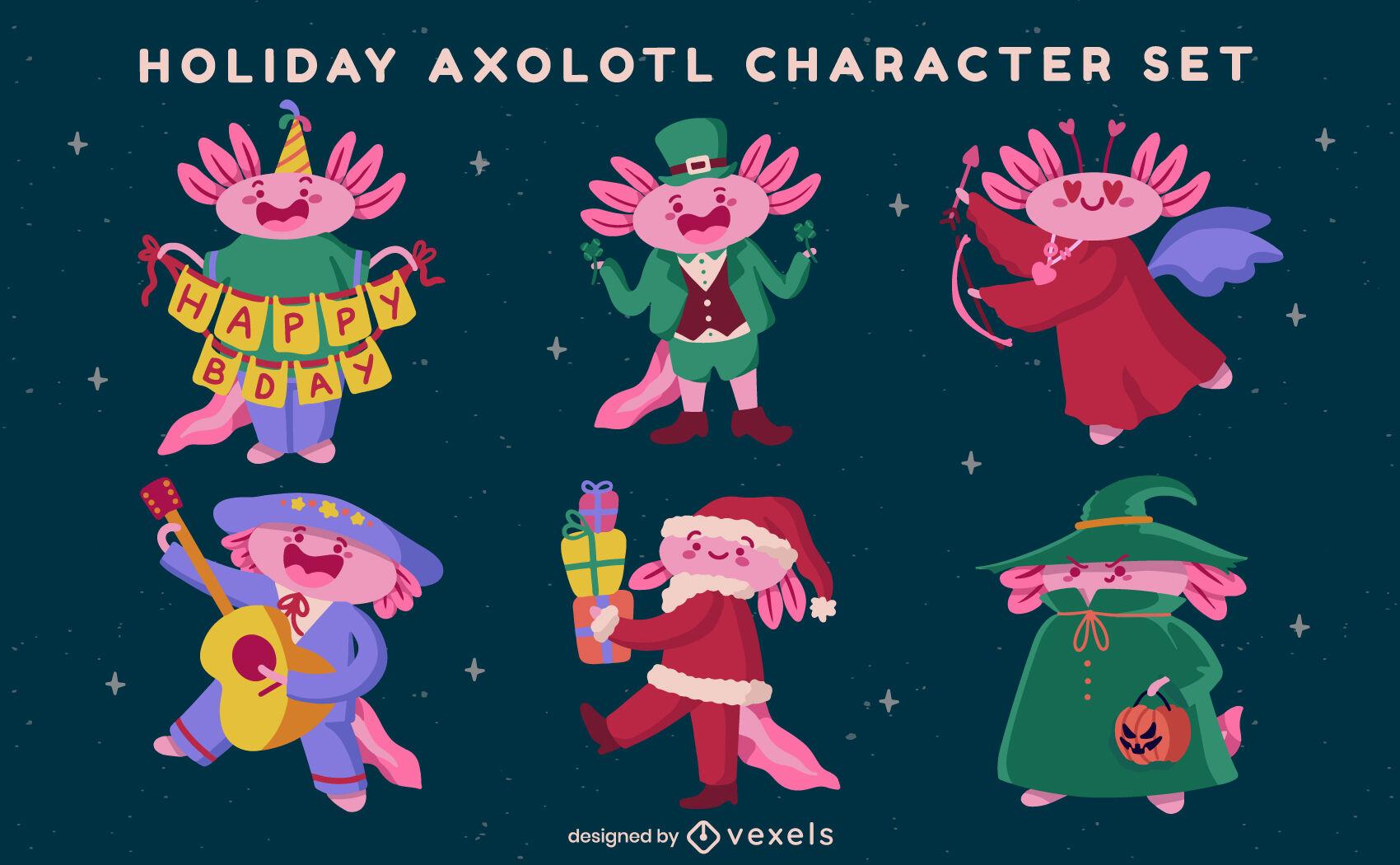 Conjunto de caracteres de animales de axolotl de vacaciones