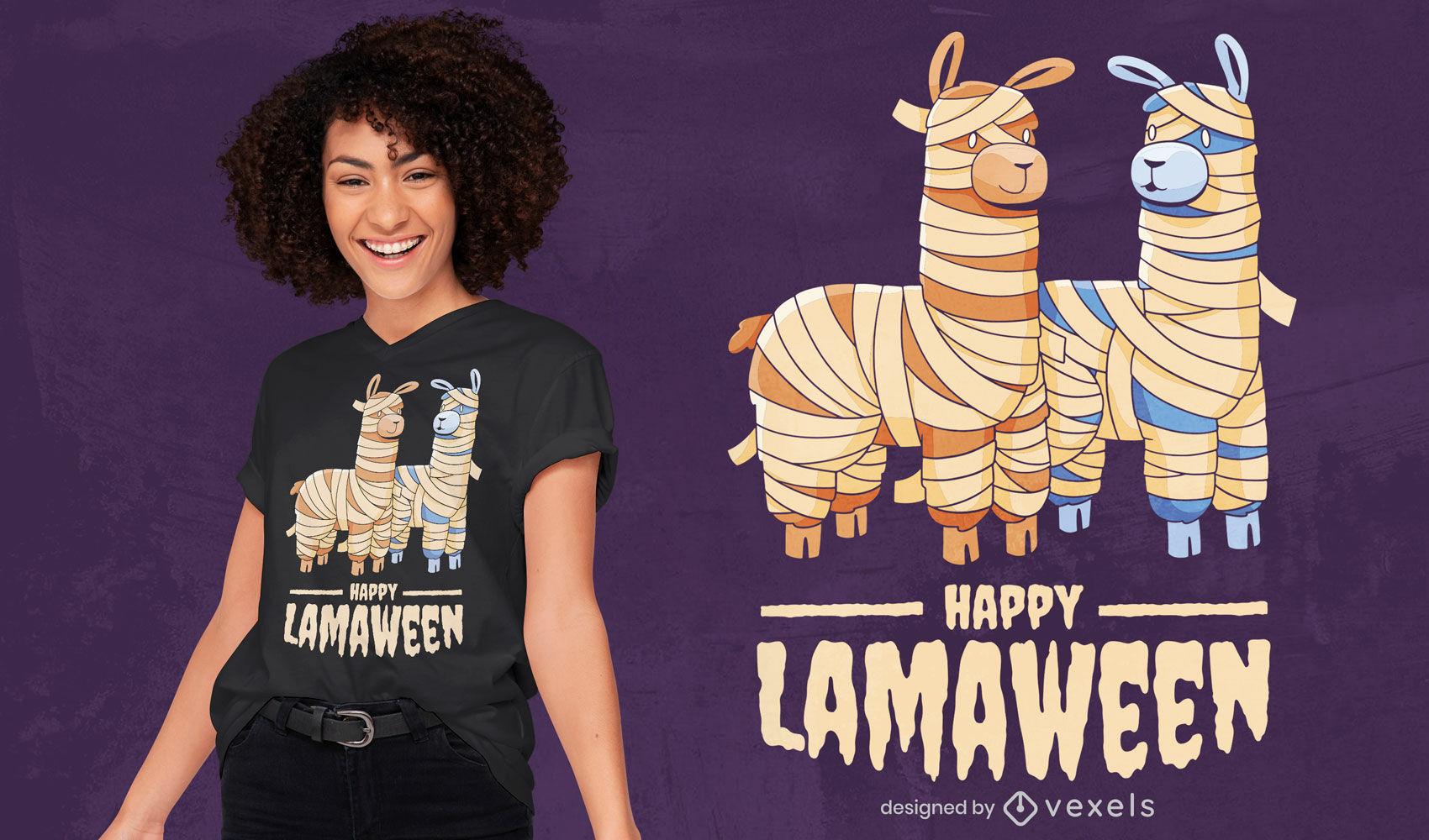 Halloween cartoon llamas t-shirt design