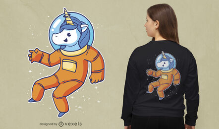 Diseño de dibujos animados de camiseta de unicornio astronauta