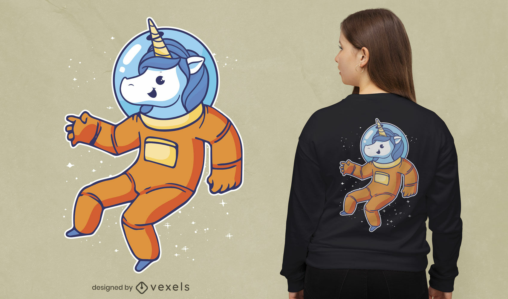 Astronaut unicorn t-shirt cartoon design
