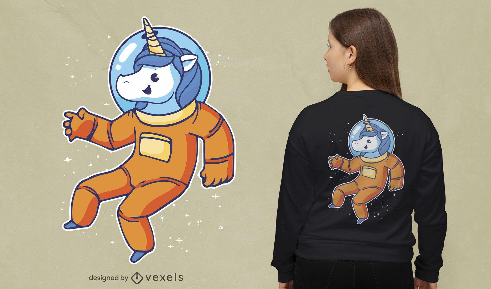 Desenho de t-shirt de unicórnio astronauta