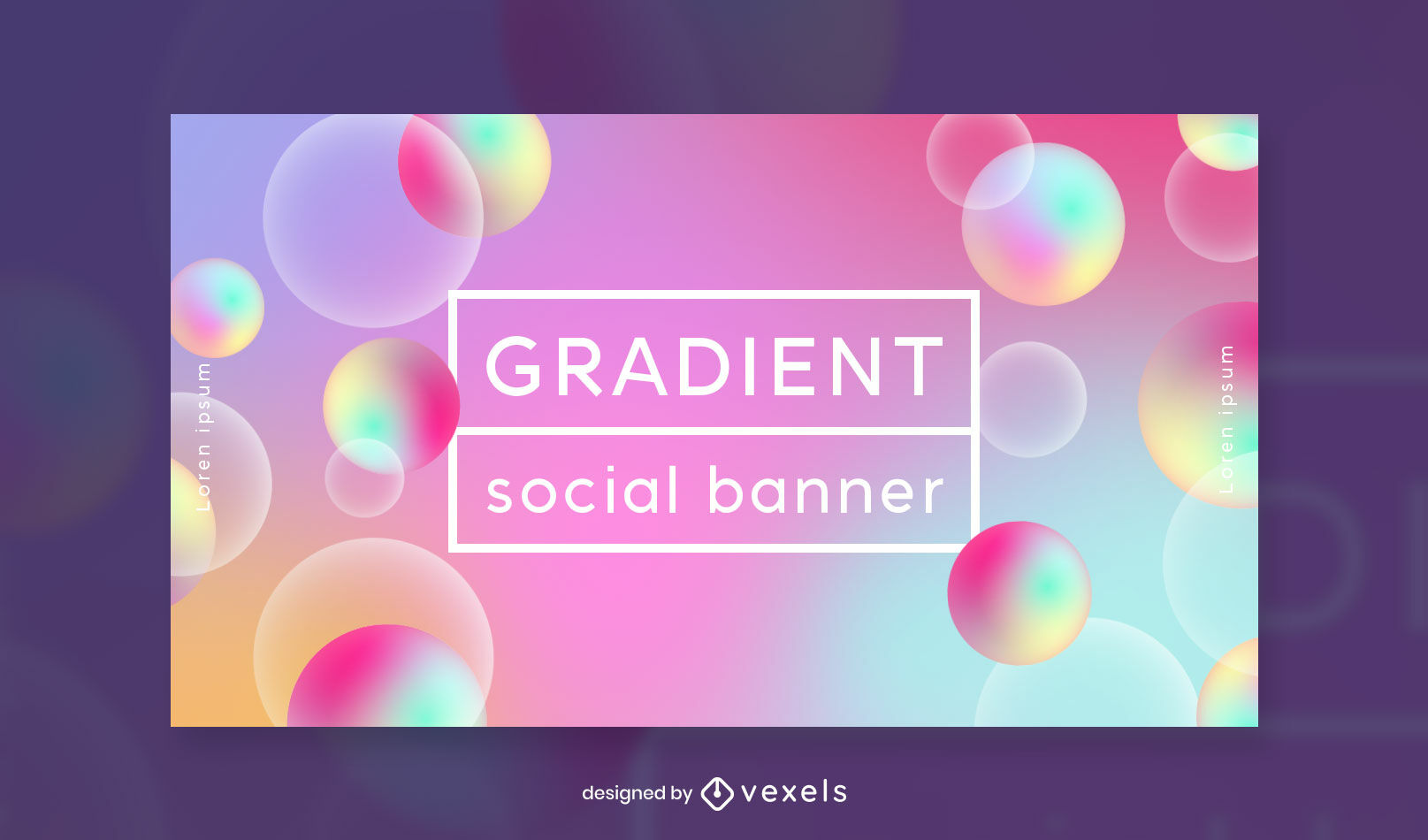 Gradient abstract bubbles facebook cover template