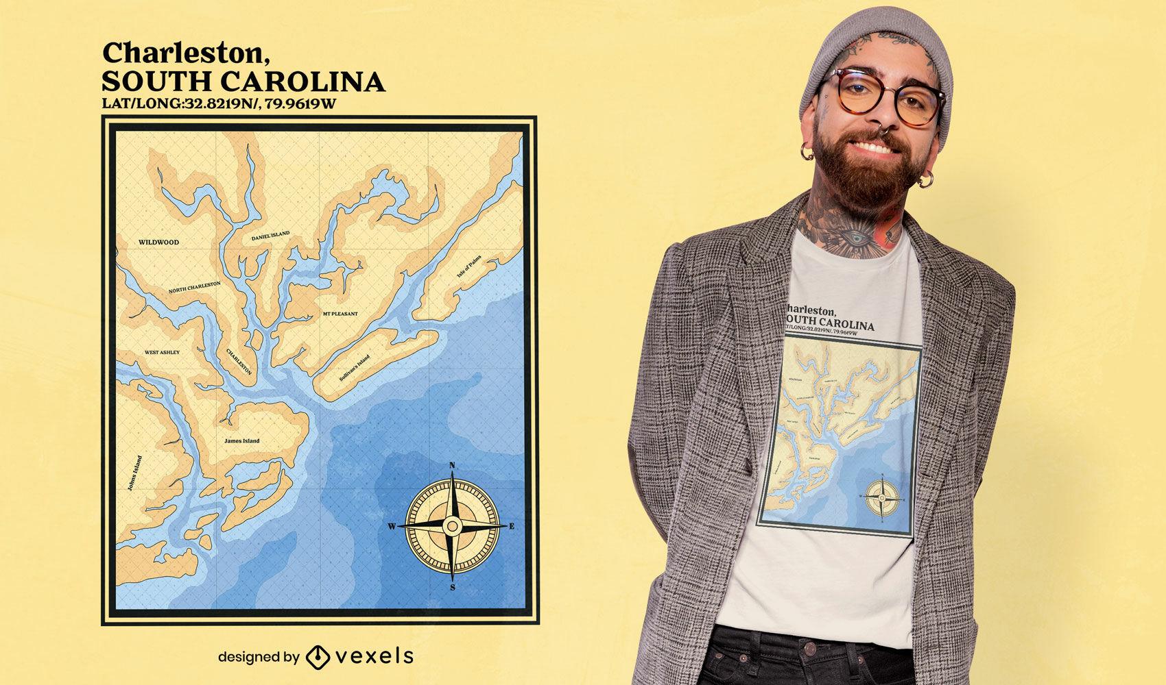 Dise?o de camiseta de mapa n?utico de Charleston Carolina del Sur