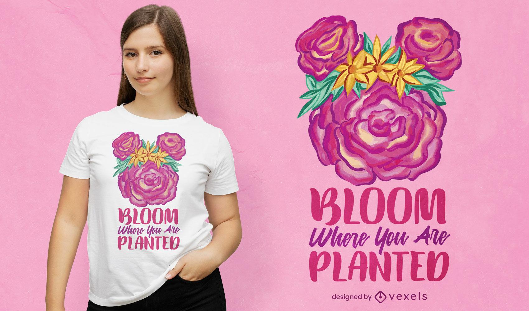 Diseño de camiseta de cita motivacional de flores florecientes.