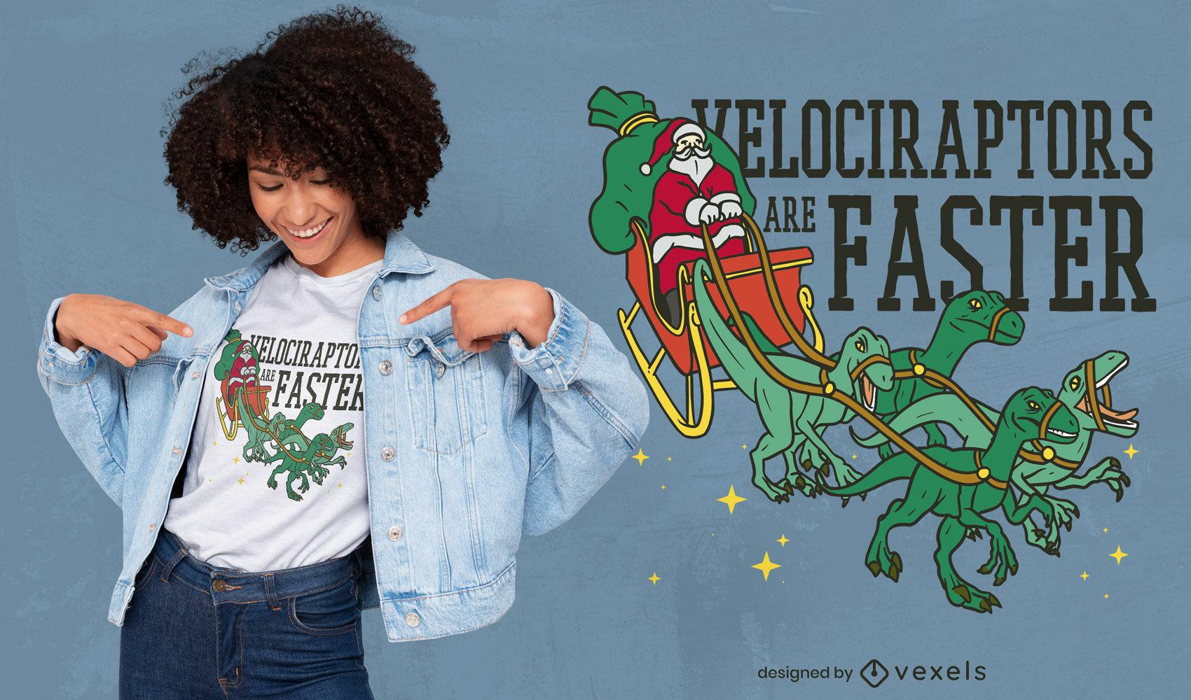 Trenó do Papai Noel com design de camiseta velociraptors