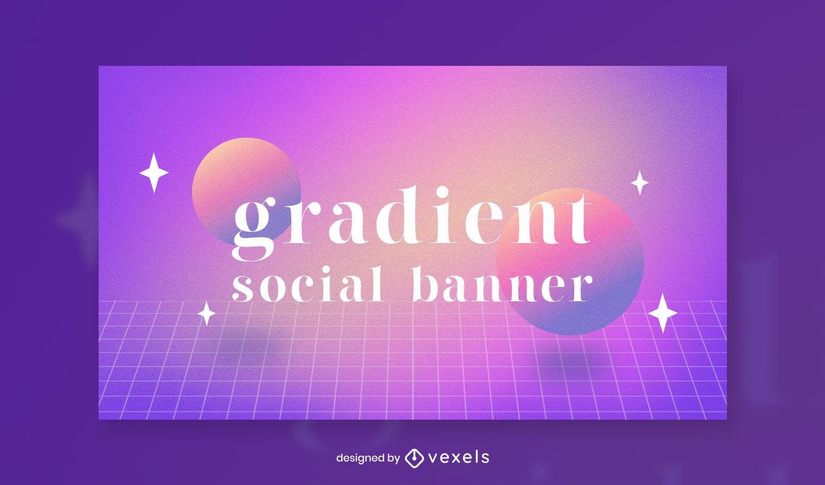 Vaporwave gradient facebook cover template