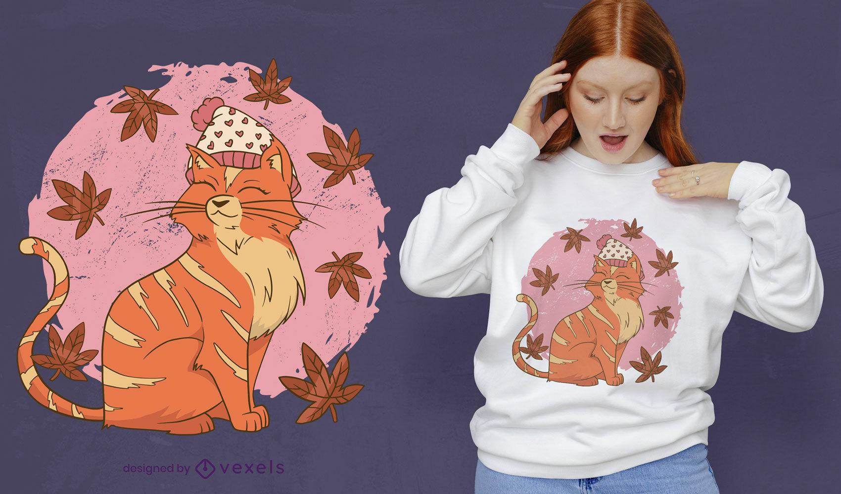 Dise?o de camiseta de gato oto?al.