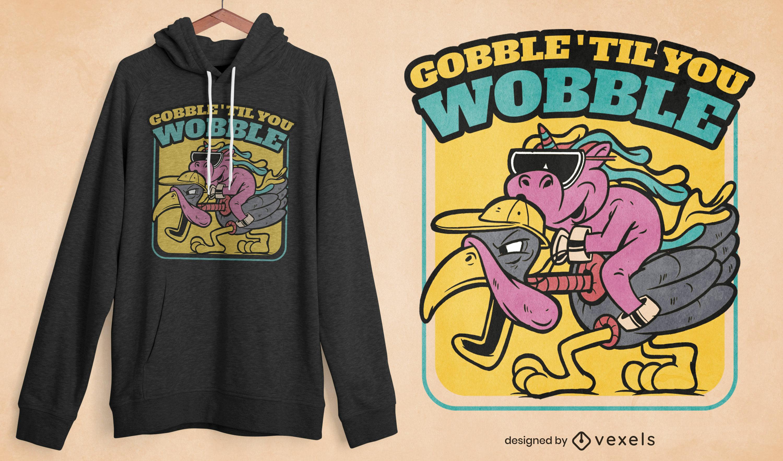 Unicorn on turkey cartoon t-shirt design