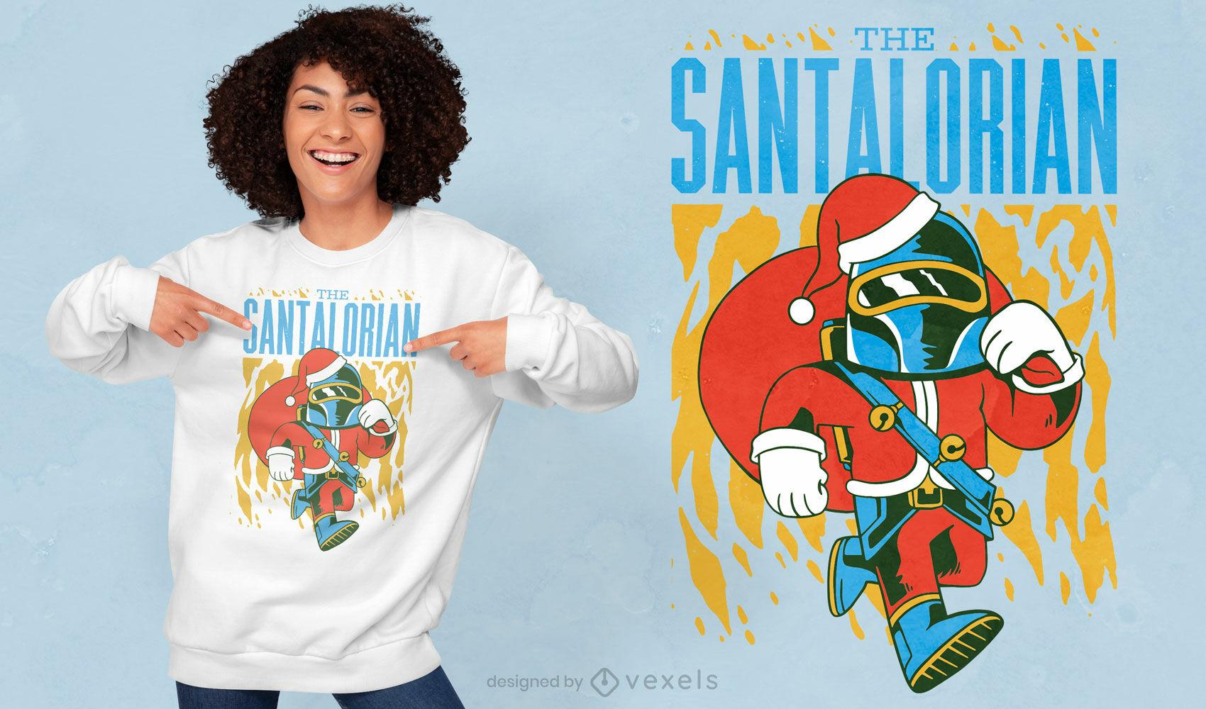 Diseño de camiseta mandaloriana de santa claus