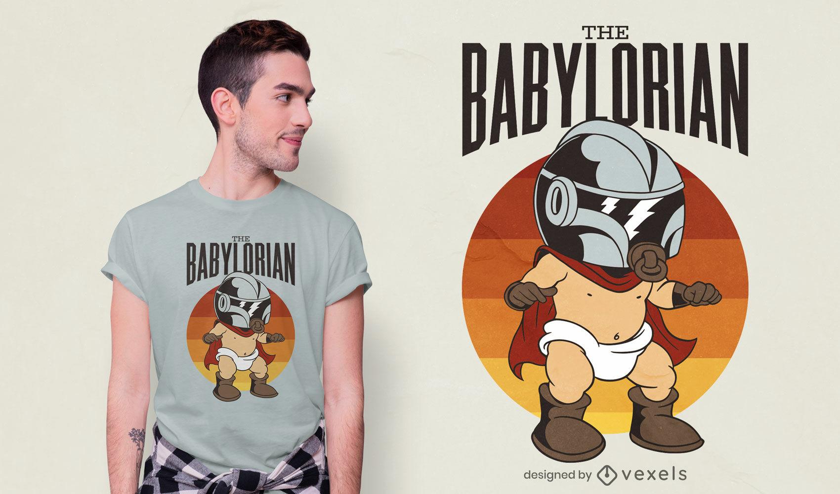 Diseño de camiseta baby mandalorian