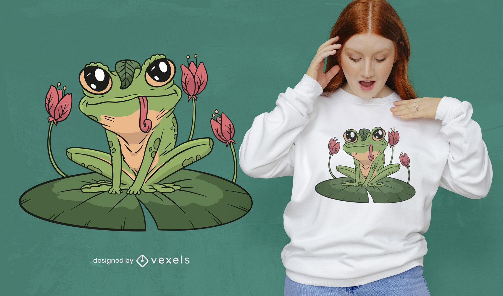 Ilustração de sapo no design de t-shirt de folha