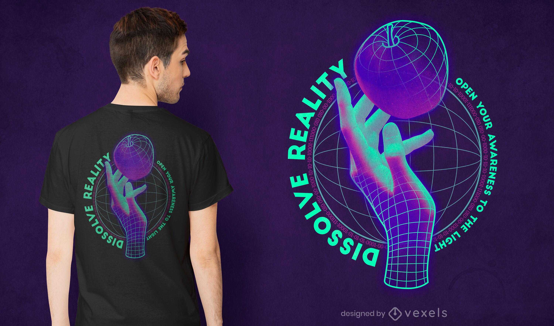 Wireframe hand psd t-shirt design