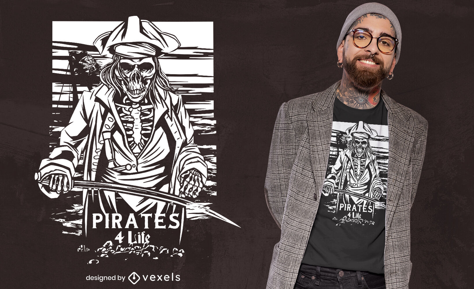 Dise?o de camiseta pirata esqueleto
