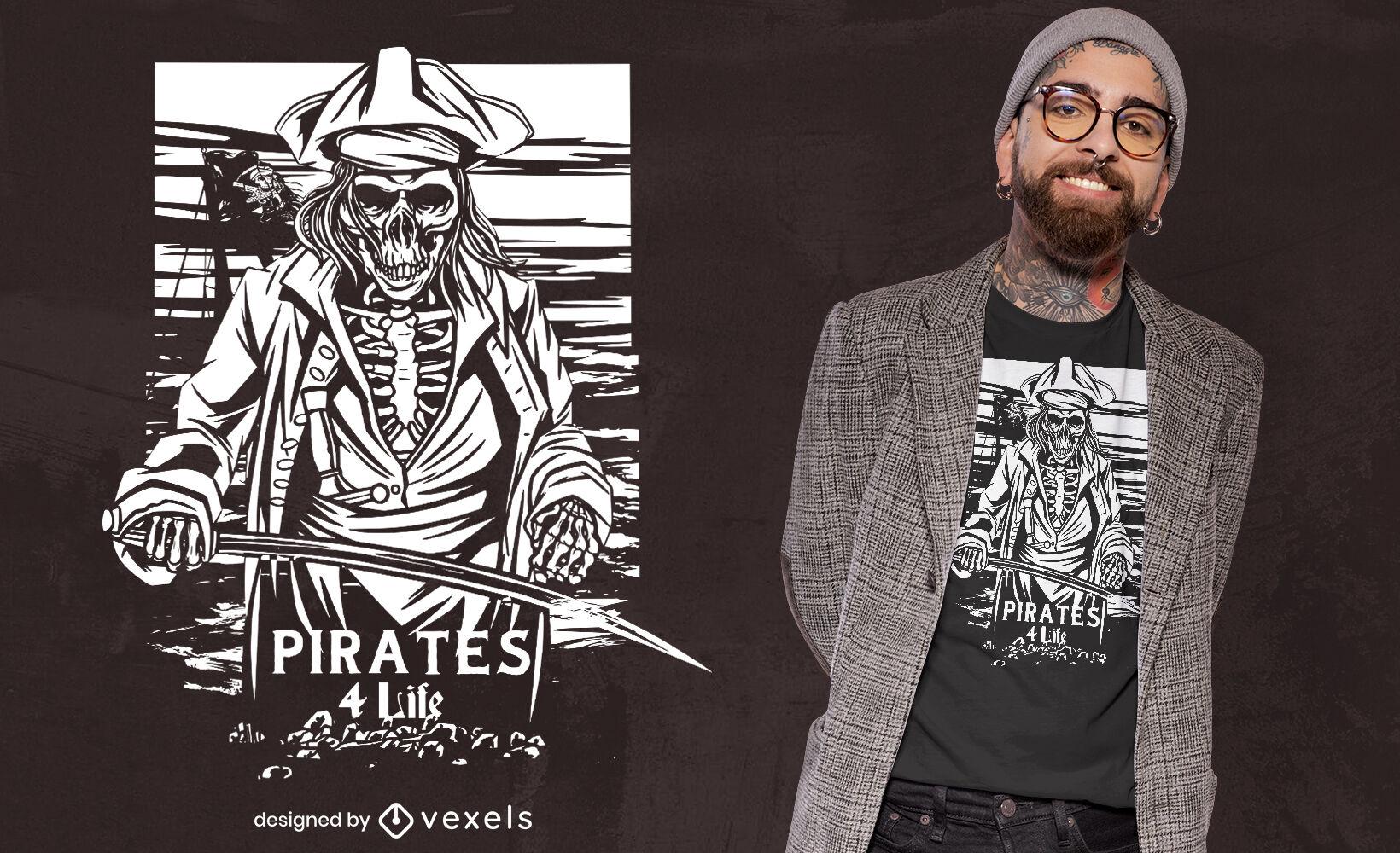 Pirate skeleton t-shirt design